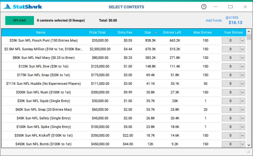 list of contests for daily fantasy sport lineup uploads