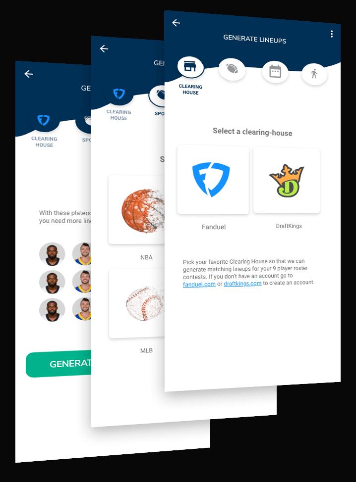 screenshots of the dfs lineups app